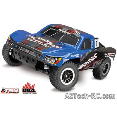 SLASH - 4x4 - 1/10 Brushless BleuTSM- WIRELESS- iD -Sans Accus/Charge 68086-4-BLUE_TRAXXAS
